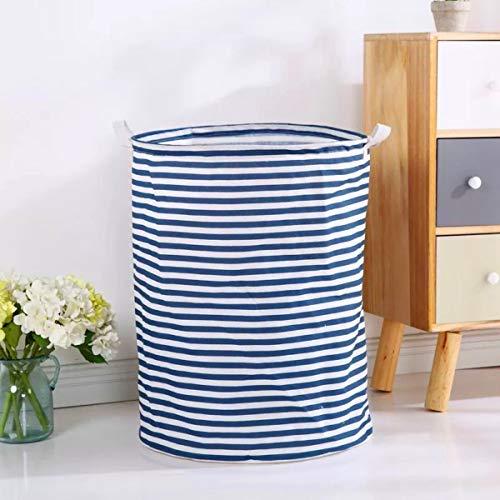 SHUTTLE GENIUS Laundry Hamper, Waterproof Round Cotton Linen Collapsible Storage Basket with Handles(Blue Strips, M)