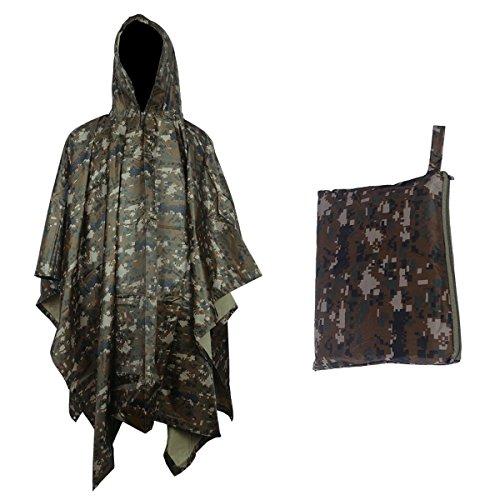 Sduck Multi-purpose Emergency Kit Rain Poncho, Heavy duty Huge Portable Waterproof & Packable Scratch-resistant Rainwear, Rain jacket, Long Travel Outdoor trip Camouflage Slicker, (Multi Purpose Poncho)