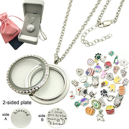 Dotiow 30mm Round Floating Locket w/50pcs No Duplicated Floating Charms Double-sided Locket Plate 24inch Stainless Steel Chain Birthday Xmas Gift£¨twist-style£