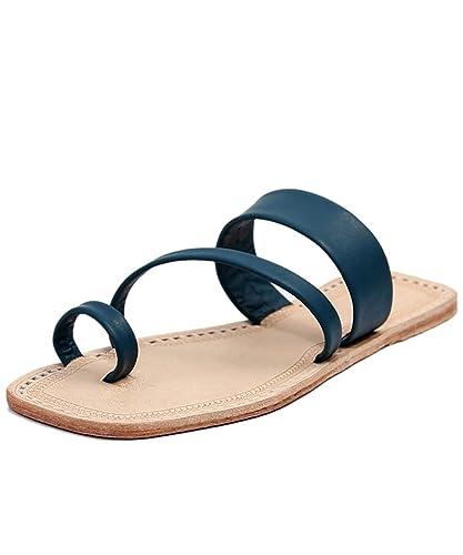 6ee17d177fc0c6 eKolhapuri Handmade Authentic Genuine Leather Awesome Dull Blue Side Belt Ladies  Sandal Size US-9