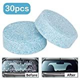 Wemk 30pcs Car Windshield Glass Cleaning Tablets Multifunctional Clean Concentrated Effervescent Tablets