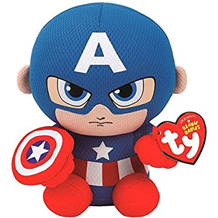 Amazon.com  Ty Marvel Beanie Baby Captain America Plush 6 Inches ... 1b548b76d80