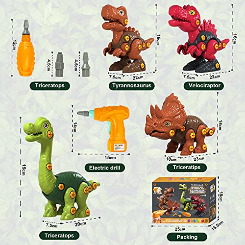 UTTORA Take Apart Dinosaur Toys, 4-Pack DIY Dinosaur Toy Construction Set with Electric Drills,Building Learning Toys Set, STEM Gifts Dinosaur Toys for Boys Girls 6 7 8 Years Old and Up