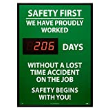 NMC DSB8 Digital Scoreboard, ''Safety First - We Have Proudly Worked XXXX Days Without A Lost Time Accident On The Job...'' 20'' Width X 28'' Height, Rigid Plastic, White/Red On Green