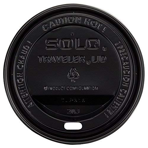 Dart Solo TLB316-0004 Traveler Black Dome Hot Cup Lid with Sip Hole 100/Pack -