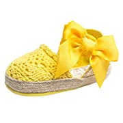 Estamico Infant Girls' Net-Yarn Lace Bow Sandals Yellow US 3