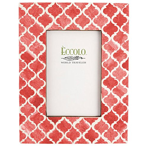 Eccolo Naturals Frame, 5 by 7-Inch, Moorish Tiles Coral - Anniversary Keepsake Tile
