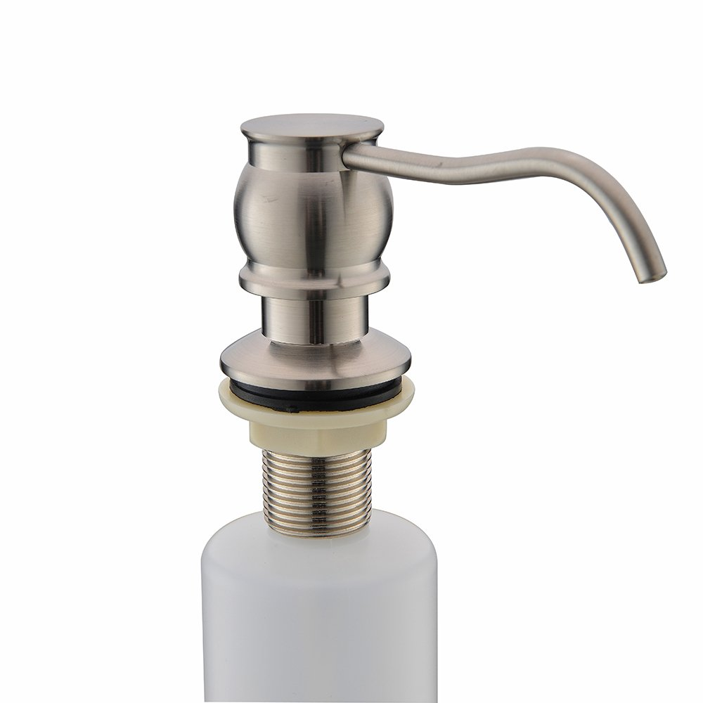 VCCUCINE Antique Country Deck Mount Brushed Nickel Kitchen Sink Granite Countertop Hand Pump Replacement Soap Dispenser, Stainless Steel Liquid Dish Dispenser by VCCUCINE (Image #3)