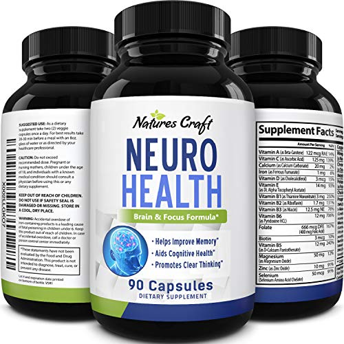 Natures Craft's Mind Enhancement Supplement Natural Nootropic Pills for Men and Women Boost Focus Clarity Improve Memory Reduce Forgetfulness Anti Aging Cognitive Enhancement 90 Capsules