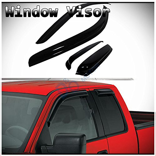 Ford Cab Mounts (D&O MOTOR 4pcs Front+Rear Smoke Sun/Rain Guard Outside Mount Tape-On Vent Shade Window Visors For 04-14 Ford F-150 Super/Extended Cab With Half Size Suicide Back Doors)