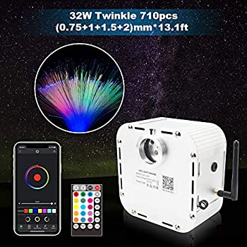 Image of CHINLY Bluetooth 32W RGB Twinkle LED Fiber Optic Star Ceiling Kit Light APP/Remote Control Mixed 710pcs (0.03in+0.04in+0.06in+0.08in) 13.1ft +10 Crystals Home Improvements