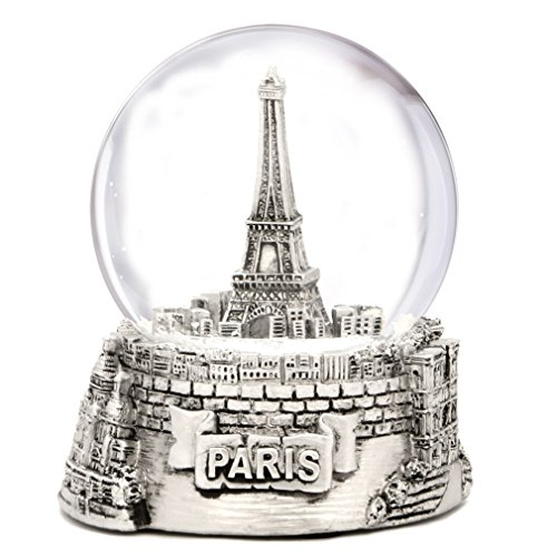 Silver Paris Snow Globe, Eiffel Tower Snow Globe Souvenir, Exclusive (3.5 Inches Tall) Paris Snow Globes Collection (Tower Eiffel Louvre)