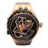 Sinceda Steampunk Alchemists of Steel Edward Anime Bronze Tone Quartz Finger Ring Watch with Gift Box