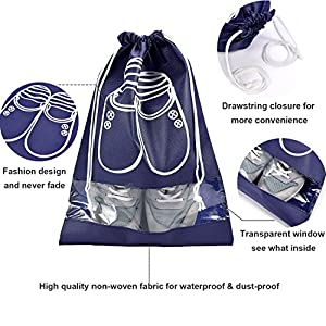 Vovoly Shoe Bags Waterproof Non-Woven With Rope For Men and Women Travel 10 PCS Navy Blue