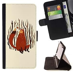 Momo Phone Case / Flip Funda de Cuero Case Cover - Fox Arte de la pintura del bosque Naturaleza Hojas de oto?o - Samsung Galaxy A3