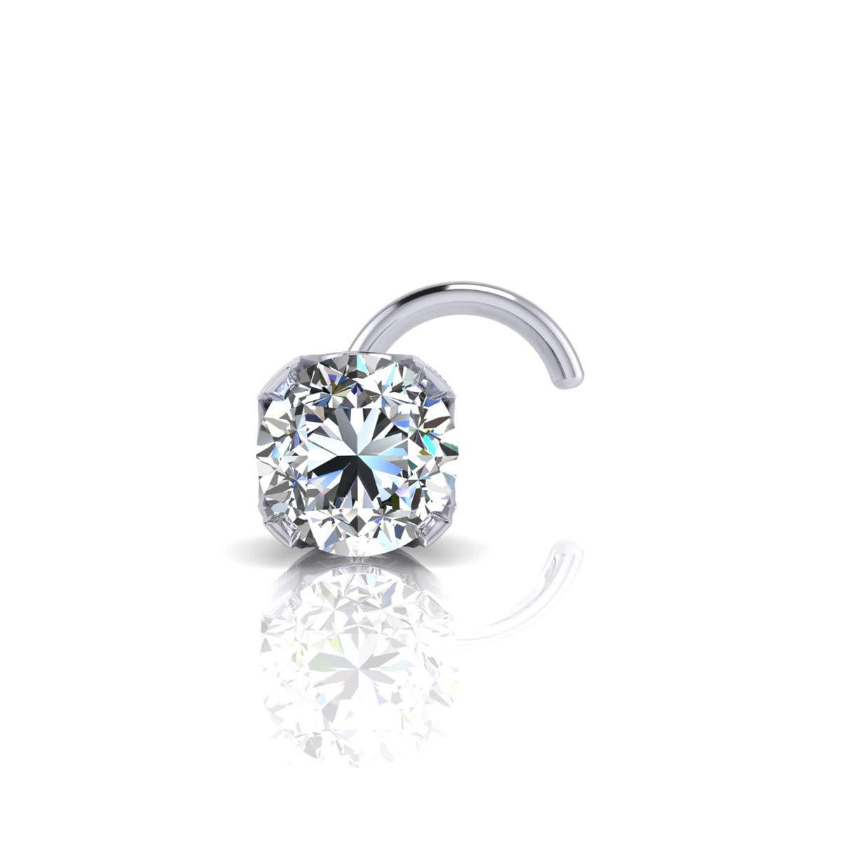 2mm 0.03 Carat Diamond Stud Nose Ring In 14K White Gold