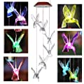 IMAGE Solar Hummingbird Wind Chimes Color Changing Chimes Mobile Chimes Wind Spinners Hanging Lights for Home Garden Decor Patio Yard Lawn Decor