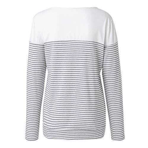 Décontractés Couleurs Blanc shirts Mode Manches Lenfesh De Triples Vêtements Rayures À Longues Femmes Pour T Bloquées x7gF8wq