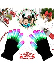 Aomeiqi Light Up Gloves, LED Gloves Flashing Finger Light Gloves Colorful Rave Gloves for Kids Halloween, Christmas, Party, Cycling, Dance, Birthday, Disco Clubs, Festivals (Black)