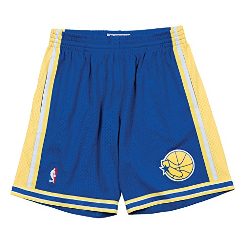 Mitchell & Ness Mens Golden State Warriors Swingman Shorts Blue/Yellow Size L -