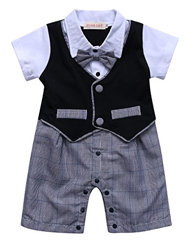 Kidsform Baby Boys Tuxedos Gentleman Suit Short Sleeve Onesie Vest Party Formal Outfit with Necktie Black 95/2-3 (Set Toddler Black Apparel)