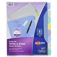 Avery Big Tab Escriba y borre los divisores de plástico duraderos, 8 pestañas multicolores, 1 juego (16171)