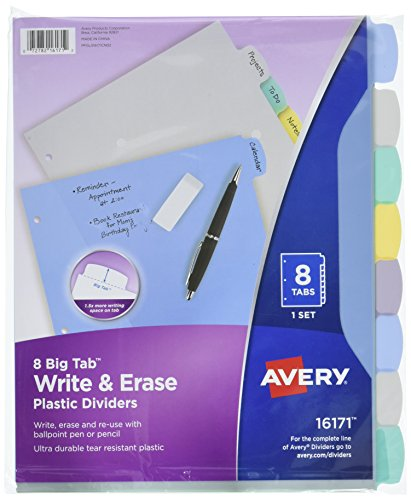 Avery Big Tab Write & Erase Durable Plastic Dividers, 8 Multicolor Tabs, 1 Set (16171) (Tab Tear Plastic)