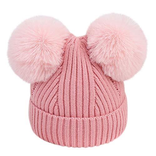 Little Kids Christmas Warm Hat,Jchen(TM) Toddler Infant Baby Kids Boys Girls Venonat Knitted Woolen Headgear Hat Hairball Cap for 0-18 Months (Pink) ()