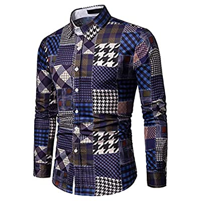 Sunmoot Classic Patchwork Plaid Dress Shirts for Mens for Work Long Sleeve Lattice Top Blouse