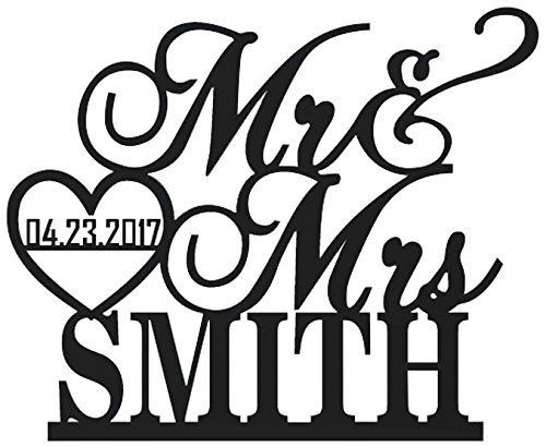 68d1f11227c5 Adorno para ser personalizado con el apellido de los novios más la fecha de  la boda encerrada en un corazón. Dimensiones  6″ de ancho