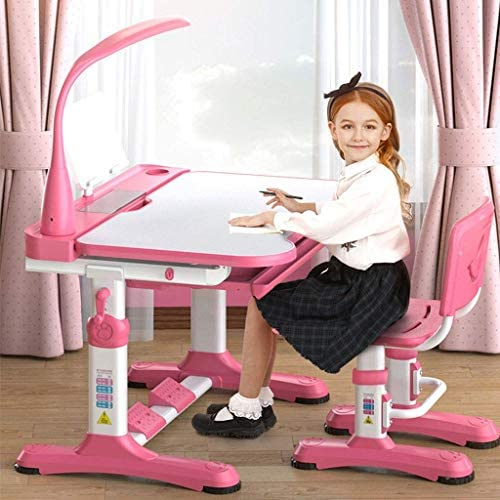 WSJTT Childs Desk, Children Desk & Chair Sets, Adjustable Height Kids Multifunctional Desk and Chair Set with Lamp, Storage Bookstand Kids Study Table for Boys Girls