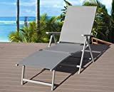 Kozyard Cozy Aluminum Beach Yard Pool Folding Reclining Adjustable Chaise Lounge Chair (Gray,1 Pack)