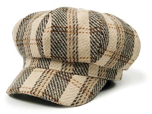 DuringVillage Beret Newsboy Checkered Cabbie Hat Caps Wool Tweed Vintage Golf Driving Hat lvy Gatsby for Women (Beige2)