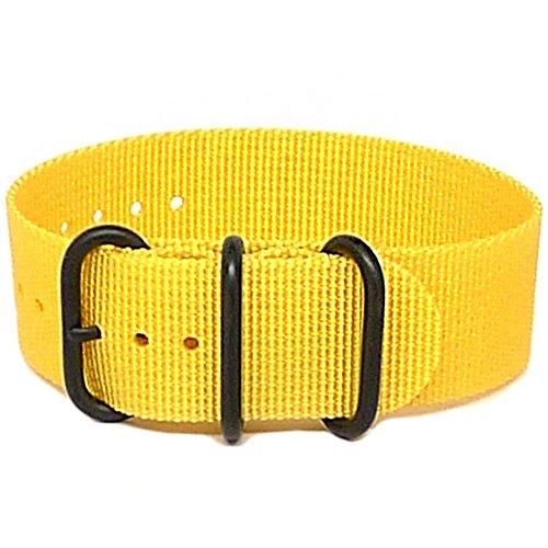 DaLuca Ballistic Nylon NATO 1 Piece Watch Strap - Yellow (PVD Buckle) : 24mm