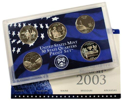 - 2003 S U.S. Mint Proof State Quarter Set - 5 Coins - OGP Original Government Packaging Superb Gem Uncirculated