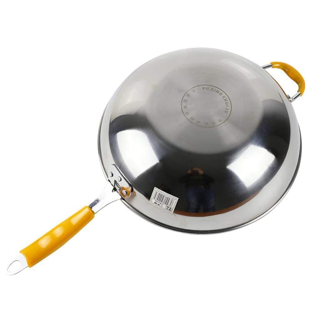 PZXY Wok Hogar cocina salud sin humo sin recubrimiento sola manija fondo plano wok antiadherente olla de acero inoxidable: Amazon.es: Hogar