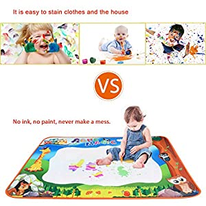 """TRIEtree Aqua Magic Mat, Water Drawing Painting Doodle Mat, Educational Toy and Birthday Gifts for Kids Boys Girls Age 2/3/4/5/6 Years Old - Large Size 40"""" x 28"""""""