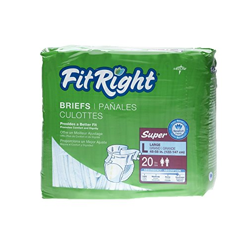 medline Fitright Super Brief, Large, 80 Count (Pack of 12)