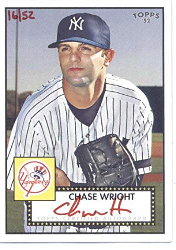 2007 Topps 52 Autograph Card - 2007 Topps '52 Signatures Red Ink #CW Chase Wright RC AU - New York Yankees (Rookie Autograph) SER/52 (1952 Edition)