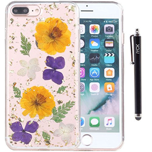 iPhone 8 Plus Case, iPhone 7 Plus Case, iYCK [Real Dried Flower] Pressed Floral [Gold Foil Embedded] Bling Glitter Flexible Soft Rubber TPU Back Cover Case for iPhone 7/8 Plus 5.5inch - Purple Gold