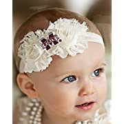 Future Tailgater Mississippi State Bulldogs Baby/Toddler Shabby Flower Hair Bow Headband (Newborn - 3 months/ 13 )