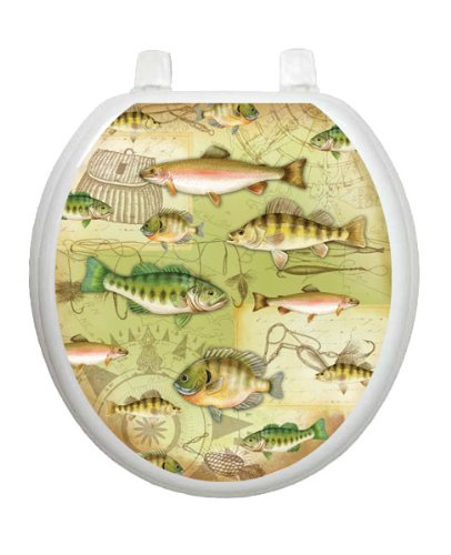 Gone Fishing Toilet Tattoo TT-1094-R Round Lake Pond Summertime Seat Decal by Toilet Tattoo