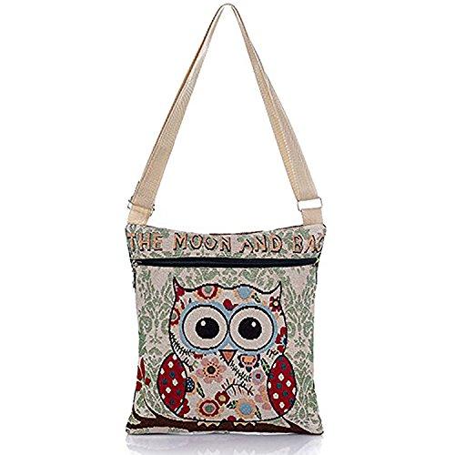 Elephant Pattern Shoulder Bag Crossbody Bag Messenger Shopping Bag for Ladies and Girls (OWL)
