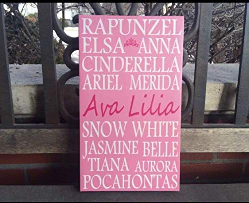 Disney Inspired Princess Canvas Sign, Personalize With Any Name, Pink Princess, Favorite Disney Princes, Personalized Christmas Gift