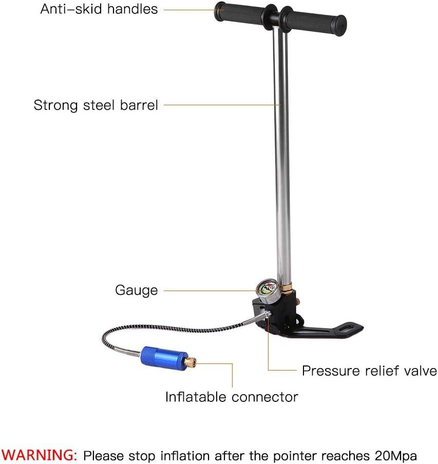 Walmeck Pompe /à Main /à Haute Pression de Pompe /à air de Pompe de r/éservoir doxyg/ène de plong/ée avec la Mesure pour Le r/éservoir dair 0.5L