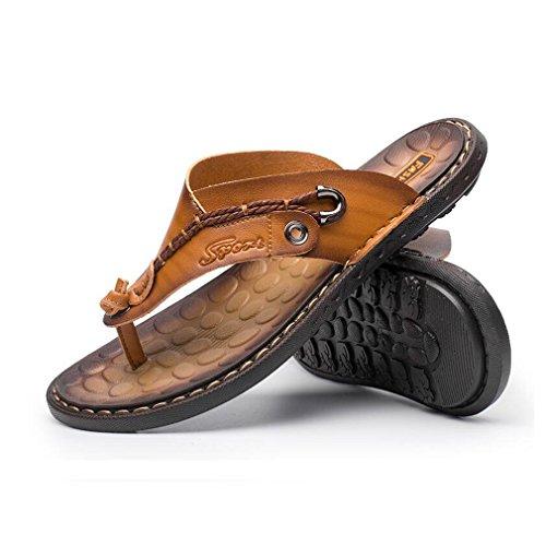Thongs rutschfeste Komfortable Gelb Klassische Sandalen Leder Flip Leichte Junkai Lässig Mode Sommer Hausschuhe männer Flops SI6q7
