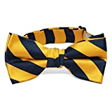 TieMart Boys' Navy Blue and Golden Yellow Striped Bow Tie