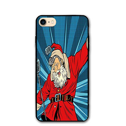 Haixia IPhone 7/8 Cover Case 4.7 Inch Popstar Party Pop Art Style Santa Claus Superstar Singer On Stage With Retro Microphone Decorative Blue Red Tan