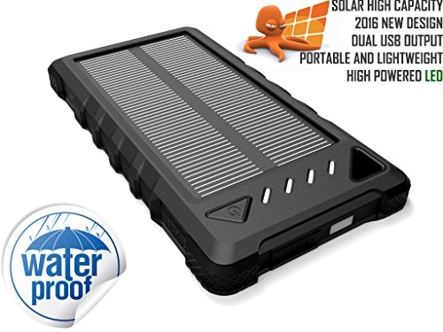 Solar Power Bank, OCTOPUS High Capacity Waterproof Portable 8000mAh Charger, Dual USB Solar Powered Battery Charger for iPhones, iPads, Samsung, Tablets, Cameras. Dustproof & Shockproof (Black/Black) (Solar Powered Ipad Charger compare prices)