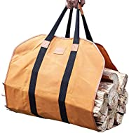 GALAFIRE Firewood Carrier Waxed Canvas, 20 Oz Heavy Duty and Large Capacity Log Tote Bag for Wood Carrying, 21
